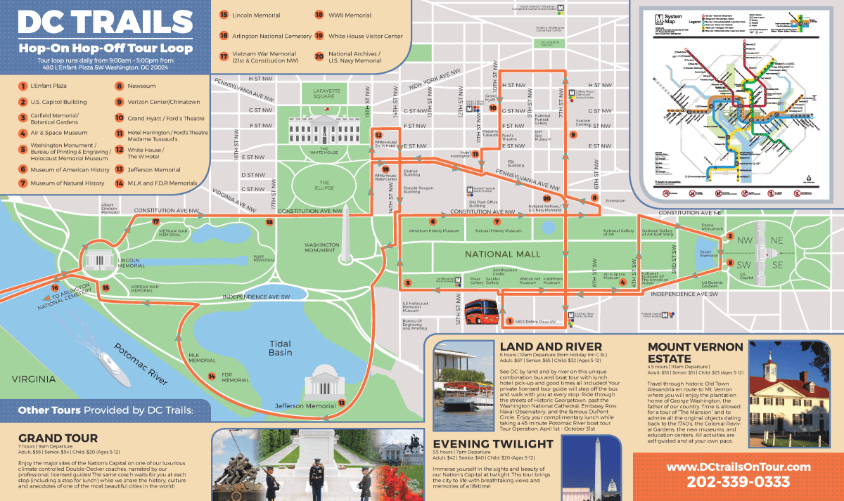 Tours Map DC Trails - Washington dc map printable